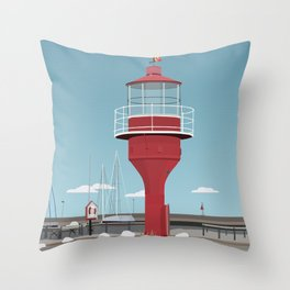 The lighthouse in the harbour in Skanor - light Throw Pillow