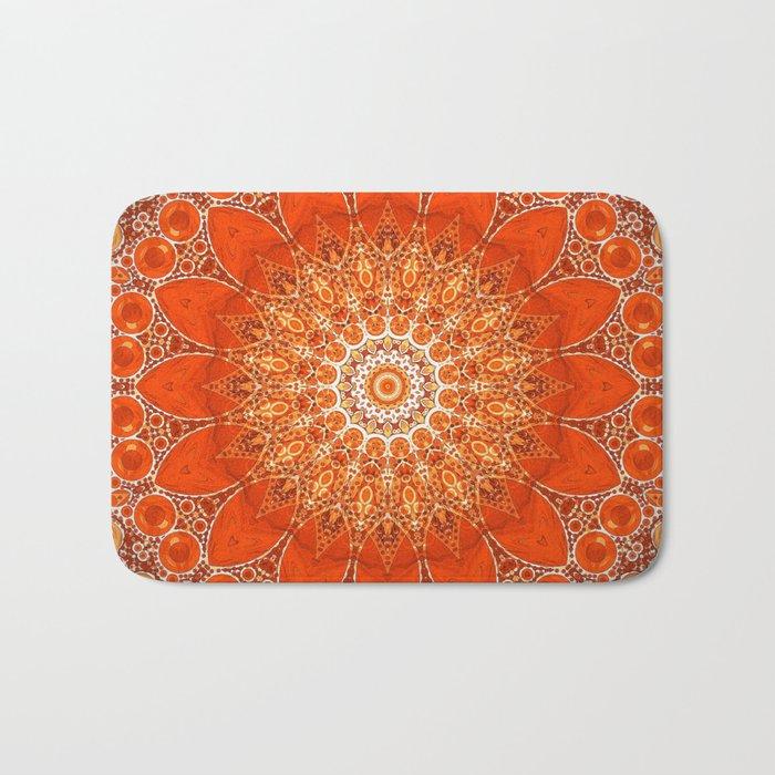 Detailed Orange Boho Mandala Badematte