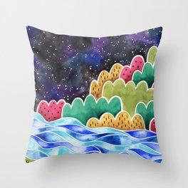 Night Sky Landscape Throw Pillow