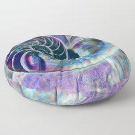 Iridescent Shell Snail Fossil Floor Pillow