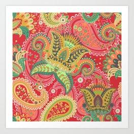 Boho Paisley Floral Pattern 4 Art Print