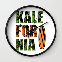 Kalefornia Diet Kale Art for Vegans in California Light Wall Clock