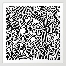 black & white doodle Art Print