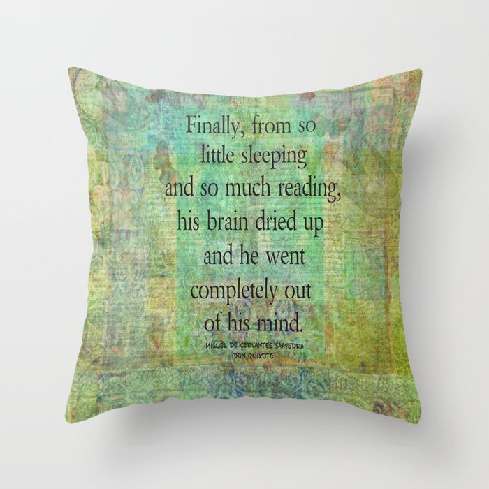 Don Quixote reading madness. Throw Pillow