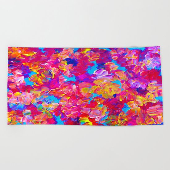 FLORAL FANTASY Bold Abstract Flowers Acrylic Textural Painting Neon Pink Turquoise Feminine Art Beach Towel