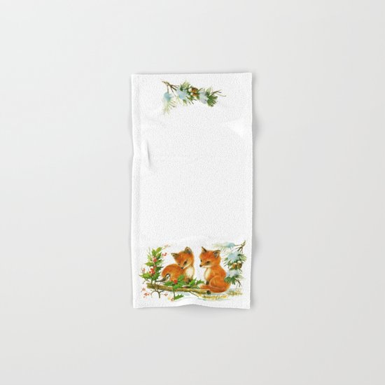 Vintage dream- little Winterfoxes in snowy forest Hand & Bath Towel