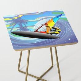 Windsurfer on Ocean Waves Side Table
