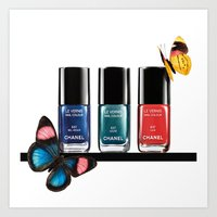 nail polish Art Prints featuring Butterflies & Nail Polish  by Luxe Glam Decor