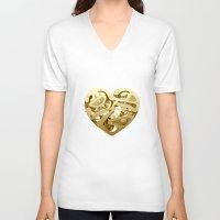 clockwork V-neck T-shirts featuring Clockwork Heart by Roman Maisei