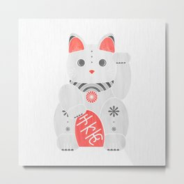 Lucky Kitty - red and black cat art Metal Print