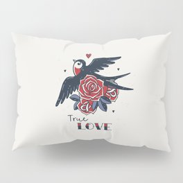 True Love | Old School Tattoo Print | Swallow And Roses Pillow Sham