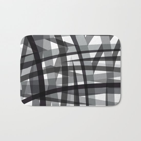 grey crossed stripes Bath Mat