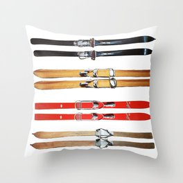 Old School Skis from Crow Creek Cool Throw Pillow