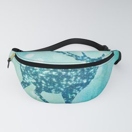 Aqua Turquoise Animal with Glitter Effect - Blue deer Fanny Pack
