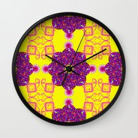 psychadelic Wall Clocks featuring Psychadelic Flora by Cynthia Squire