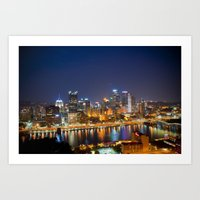 pittsburgh Art Prints featuring Pittsburgh by John Cruz