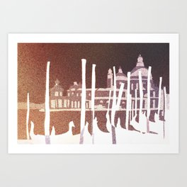 Watercolor painting of gondola boats on Piazza San Marco at sunset in the medieval city of Venice- I Art Print