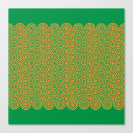 op art pattern retro circles in green and orange Canvas Print