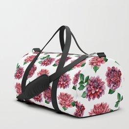 Dahlias. Watercolor flowers illustration. Red floral pattern. Botanical art. Сhrysanthemum Duffle Bag