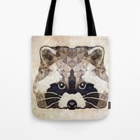 racoon Tote Bags featuring Racoon by Ancello