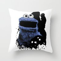 cookie monster Throw Pillows featuring Monster Madness: Cookie Monster by SB Art Productions