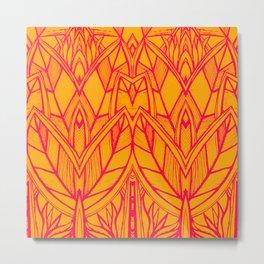Modern Tropical Leaves Abstract - Orange Pink Metal Print