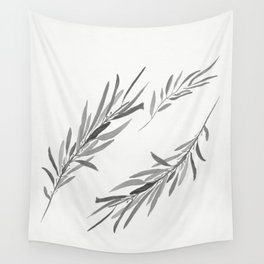 Eucalyptus leaves black and white Wall Tapestry
