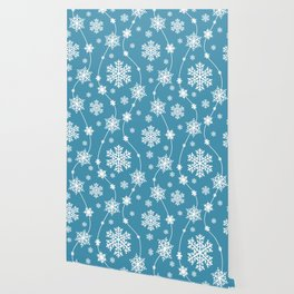 Blue and White Snowflake Holiday Pattern Wallpaper