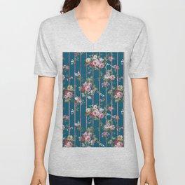 Vintage blue blush pink red floral modern stripes pattern Unisex V-Neck
