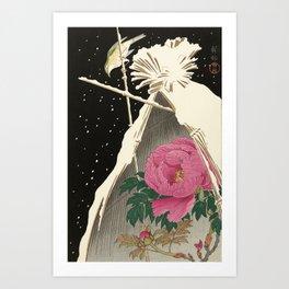 Bird and Peony Japanese Woodcut Art Print