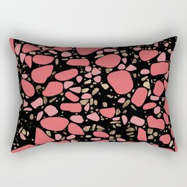 Terrazzo - Mosaic - living coral and gold on black Rectangular Pillow