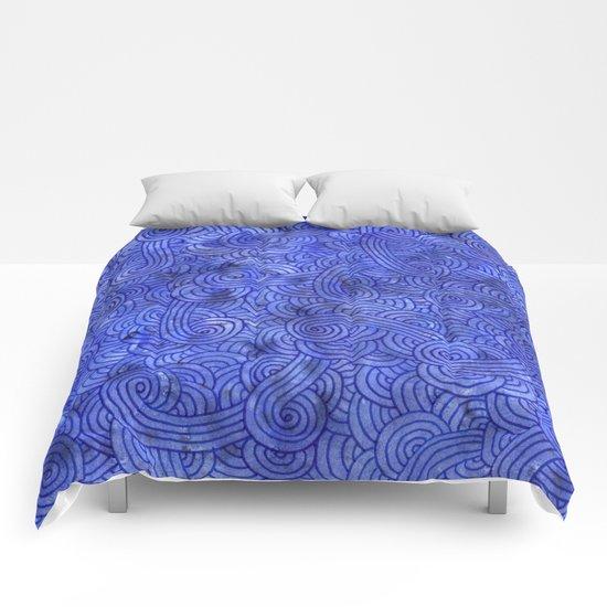 Royal blue swirls doodles Comforters