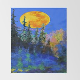 FULL MOON OVER BLUE MOUNTAIN FOREST DESIGN Throw Blanket