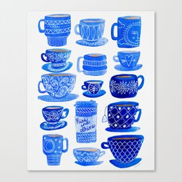 Coffee Mugs and Tea Cups - A study in blues Canvas Print