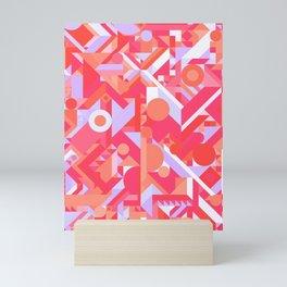 GEOMETRY SHAPES PATTERN PRINT (WARM RED LAVENDER COLOR SCHEME) Mini Art Print