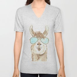Aviator Llama Watercolor Unisex V-Neck