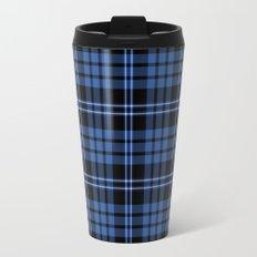 Blue And White Tartan Plaid Pattern Travel Mug