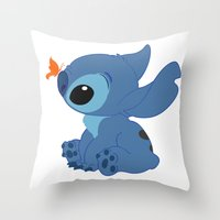 lilo and stitch Throw Pillows featuring Stitch by Alexbookpages