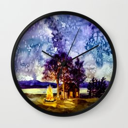 Camp-fire under the Milky Way  Wall Clock