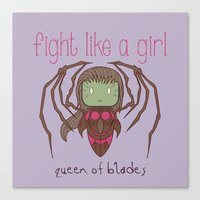 starcraft Canvas Prints featuring Fight Like a Girl - Starcraft's Infested Kerrigan by ~ isa ~
