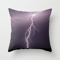 lightning Throw Pillows featuring Lightning by T M B