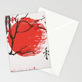 Autumn landscape with tree  Hieroglyphs autumn, truth Stationery Cards