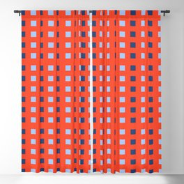 Geometric abstraction: dark and light cobalt blue squares on scarlet red Blackout Curtain