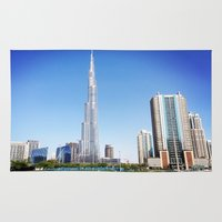 wiz khalifa Area & Throw Rugs featuring Dubai Burj Khalifa by MyndVu