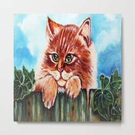 Cat on the fence Metal Print