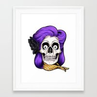 rockabilly Framed Art Prints featuring Rockabilly Skull by Mark Matlock
