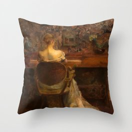 The Spinet by Thomas Wilmer Dewing - Victorian Belle Époque Retro Vintage Fine Art Throw Pillow