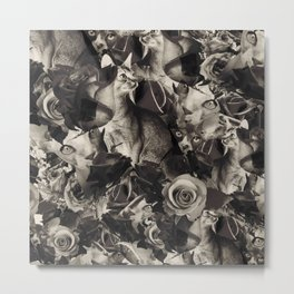 Cat Flowers Metal Print