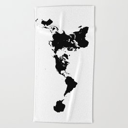 Dymaxion World Map (Fuller Projection Map) - Minimalist Black on White Beach Towel