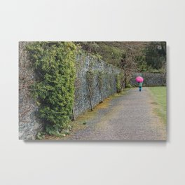 Pink Umbrella in the Rain - Muckross House, Ireland Metal Print